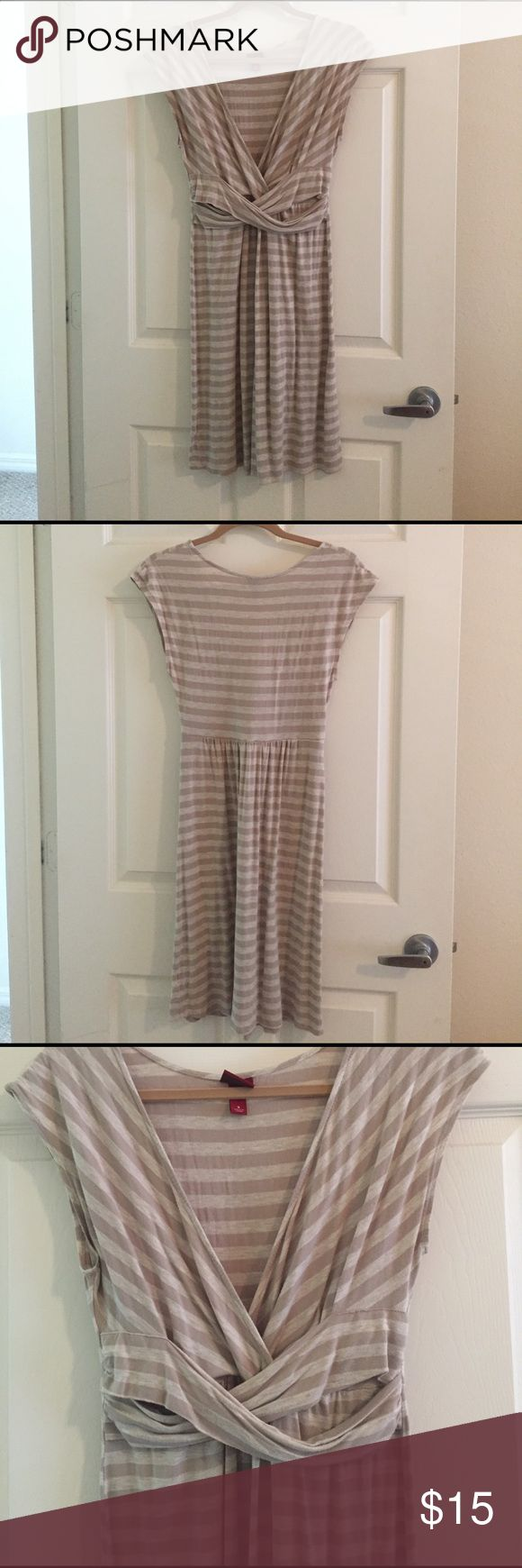 Merona casual dress Neutral striped sun dress, low v-neck, cap sleeve Merona Dresses Midi