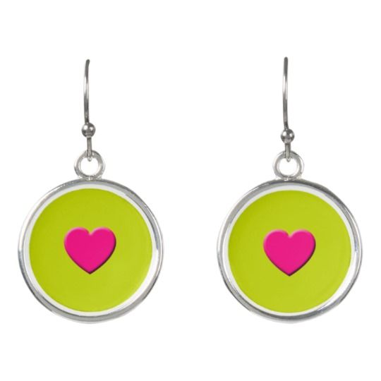 Pink Heart Drop Earrings by http://www.zazzle.com/htgraphicdesigner*