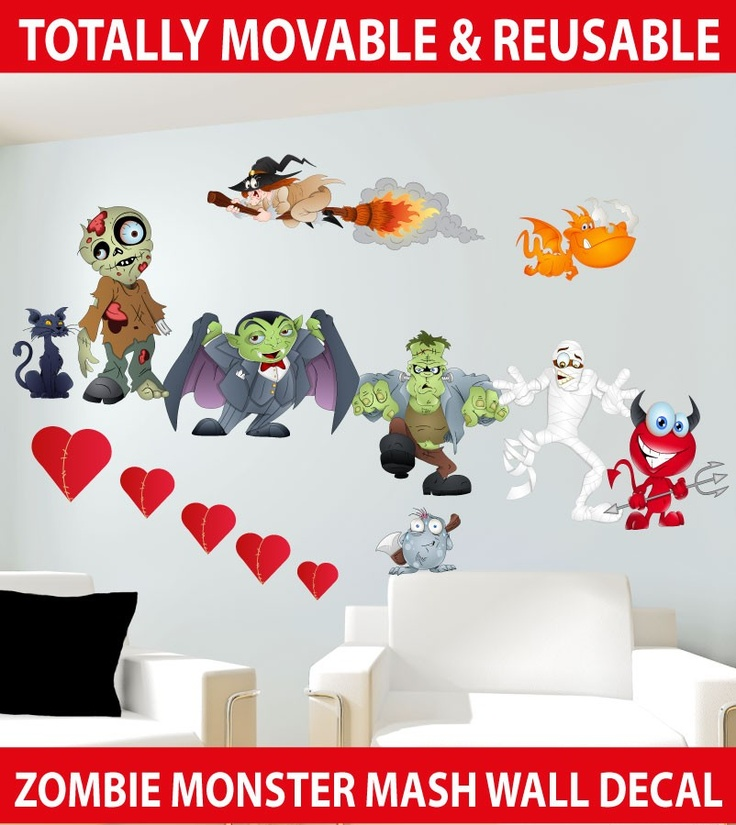 Halloween monsters wall stickers totally movable