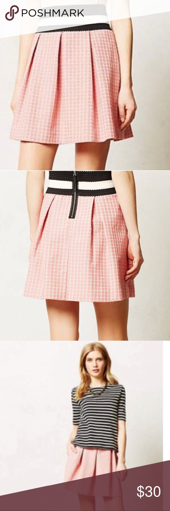 """Anthropologie Maeve Seren Skirt Anthropologie Maeve Seren Skirt. In perfect condition. Maeve's swingy jacquard skirt is perfectly preppy with a chambray buttondown and oxfords.  Back zip Polyester, cotton, elastane Machine wash Regular: 19""""L Anthropologie Skirts Mini"""