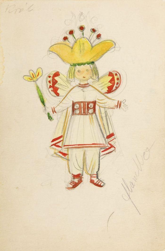 - Król, lata 50. XX w., projekt kostiumu do spektaklu Calineczka