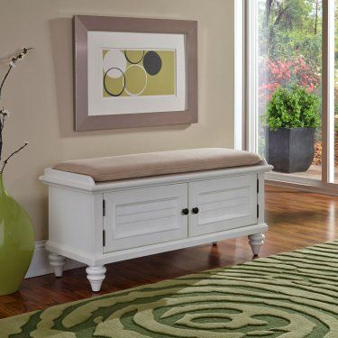 Home Styles Bermuda Upholstered Storage Bench - Brushed White