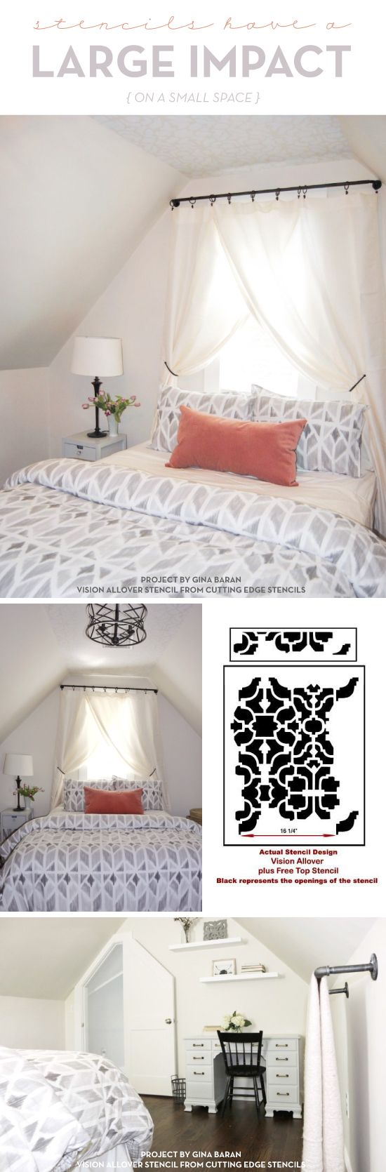 130 best stenciled painted ceilings images on pinterest cutting edge stencils shares a diy guest bedroom makeover featuring a stenciled ceiling using the vision