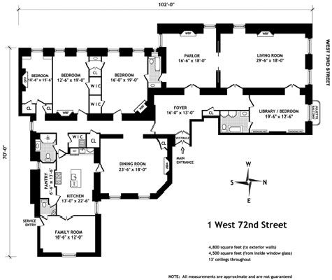 Floor plan for an apartment in the Dakota Apartment Building. Central Park West, New York City.