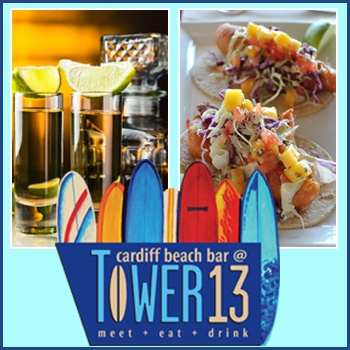 Enjoy up to 53 percent off a Taco Tuesday tequila flight and taco flight for two at Cardiff Beach Bar at Tower 13.  #sandiego #deal #tower13 #cardiffbeach #cardiff #beachbar