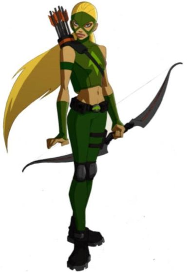 Artemis, DC Comics; After the departure of Green Arrow's sidekick Speedy, Artemis later took over the part, Green Arrow & Batman creating a story about her being Green Arrow's niece in order to hide her criminal parentage. She is apparently stabbed by Kaldur, & dies in Nightwing's arms. However the whole thing was staged, & using a magical amulet given to her by Nightwing to change her appearance, now only Kaldur, Wally, & Dick know she is really alive.