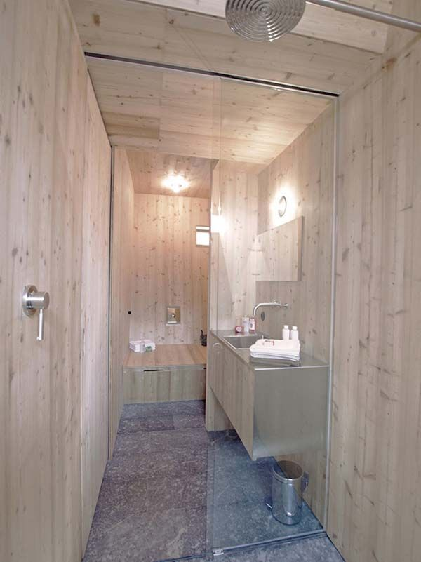 Tiny house, bathroom. Located in the Alps in Austria and designed by Peter Jungmann. It's named Ufogel