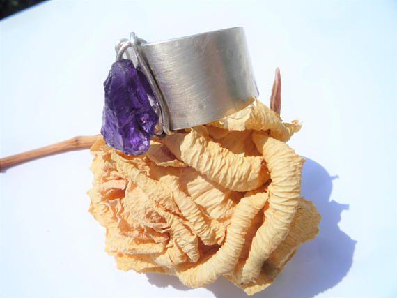 Amethyst ring Sterling silver ring Rough raw AmethystModern