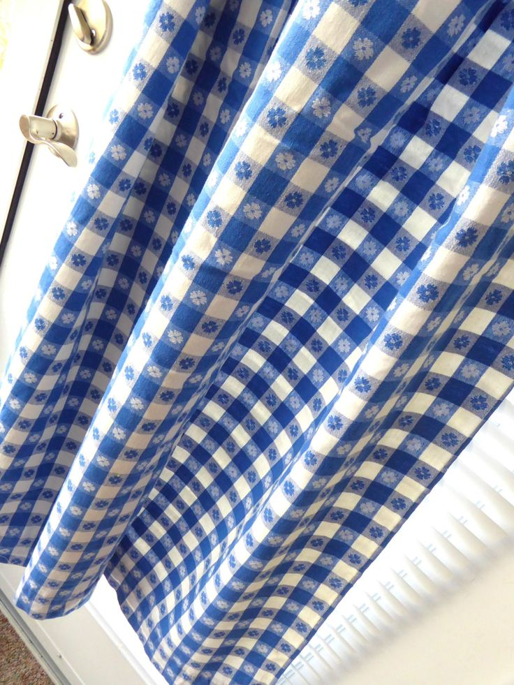 Retro Curtains Drapery Pair 1950s Blue And White Picnic Cloth Reversible 56 Long by 27 Wide by RuthsBargains on Etsy