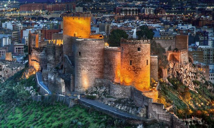 """CASTLES OF SPAIN - The Alcazaba of Almería is a islamic fortified complex in southern Spain. The word """"alcazaba"""", signifies a walled-fortification in a city. In 995 Almería gained the title of """"medina"""" (city) by the Caliph of Cordoba, Abdar-Rahman III,the construction of the defensive citadel, located in the upper sector of the city, began in this period. The complex was enlarged under Al-Mansur, and later under Al-Jairan (1012–1028)."""