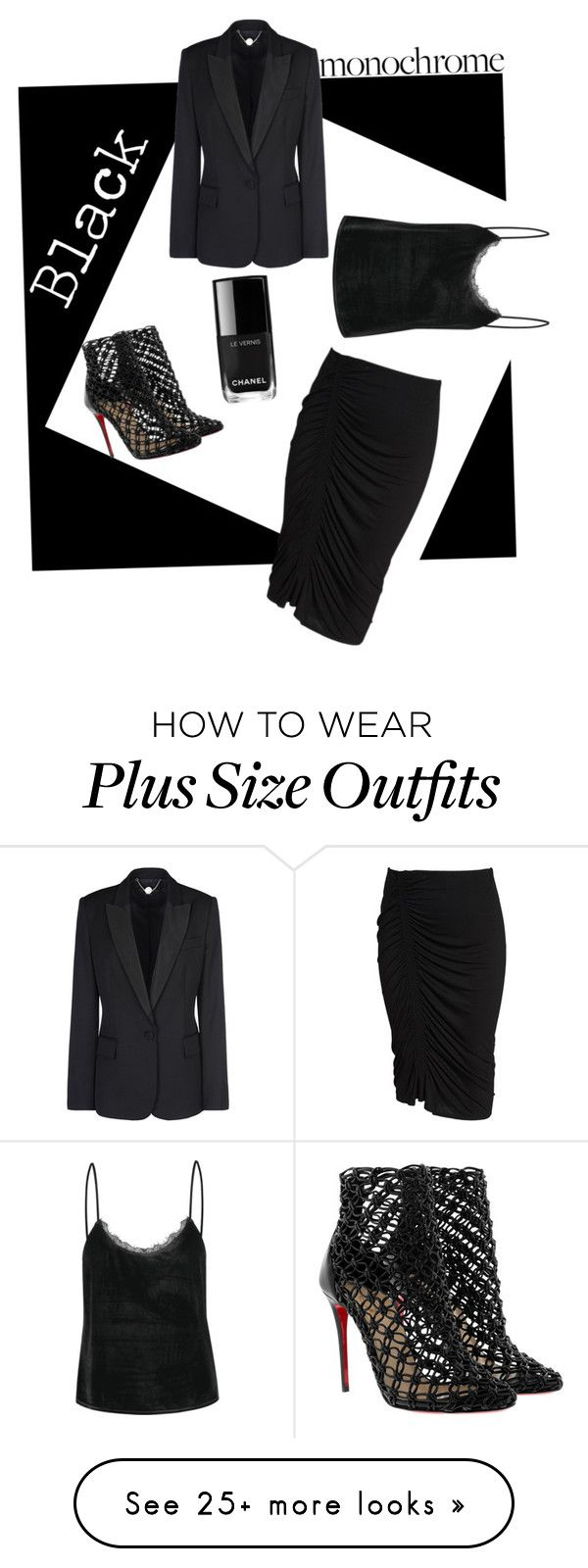 """""""Negative"""" by naomi-mann on Polyvore featuring STELLA McCARTNEY, Vince Camuto, Christian Louboutin and allblackoutfit"""