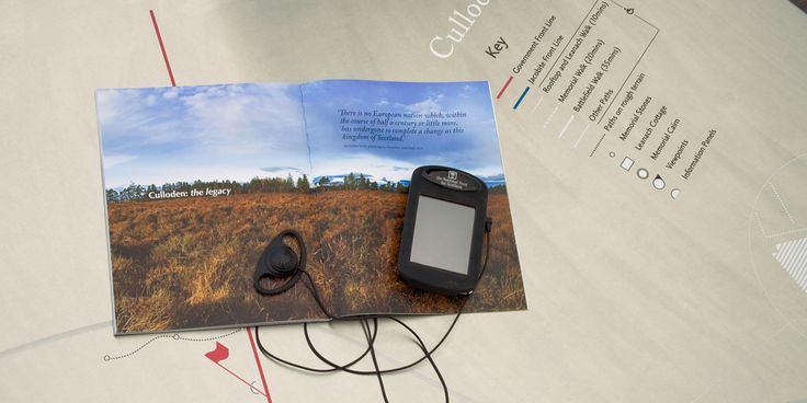 Culloden Visitor Centre (RAA) Battlefield Guide: GPS enabled handheld device which delivers map-based archeological information and personal accounts to visitors as they walk