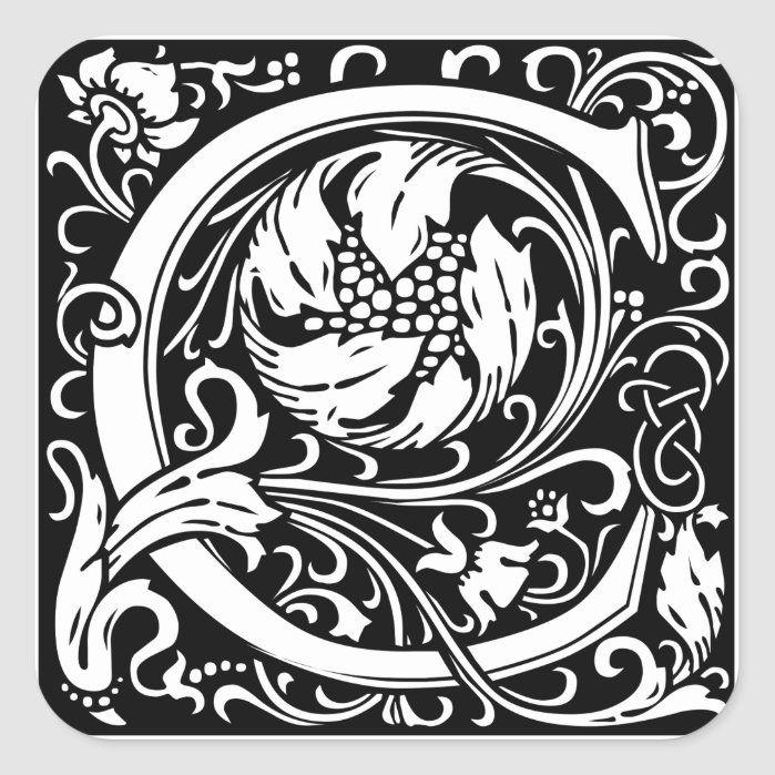 Letter C Medieval Monogram Vintage Initial Square Sticker Zazzle Com In 2021 William Morris Illuminated Letters Illuminated Manuscript