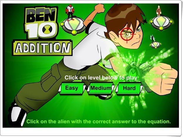 """""""Ben 10 Math Addition"""" es un juego en el que se ha de ayudar a Ben a destruir las naves enemigas usando la práctica de la suma mentalmente. Con tres niveles de dificultad que podrían ir de 1º a 3º nivel de Educación Primaria."""
