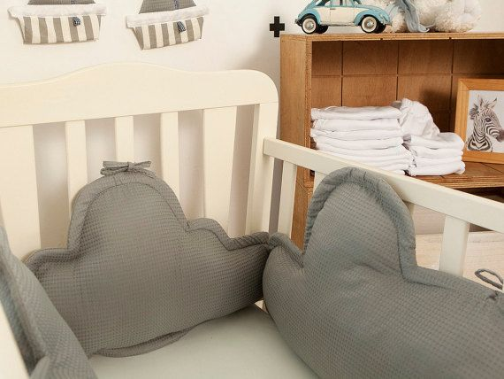 This beautiful dreamy clouds crib/cradle bumper is part of our new summer collection! great alternative for the traditional babys crib bumper. the cloud bumper contains: one head pillow and two sides pillows in a cloud shape. The clouds pillows bumper is modular and because it is