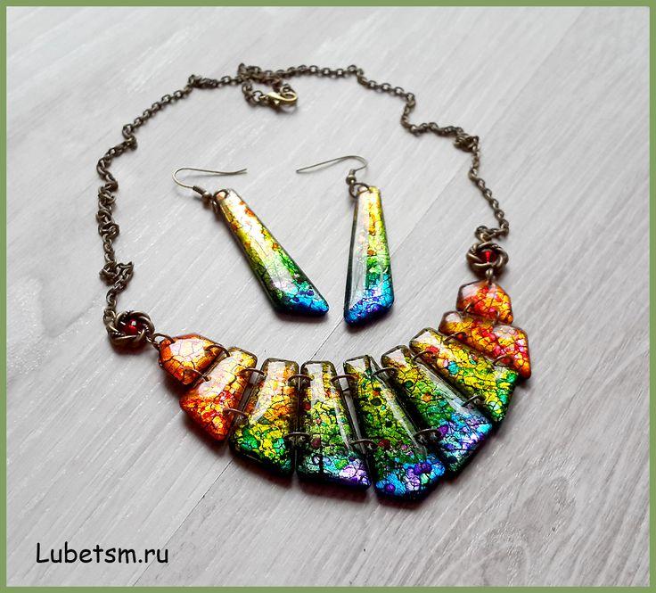 Alcohol inks over metal leaf polymer clay beads coated in resin. Полимерная глина, поталь, эпоксидная смола, алкогольные чернила.