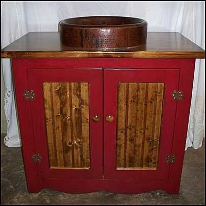 Photo Of Front View Country Bathroom Vanity Country Pine Vanity With Copper Sink Bronze