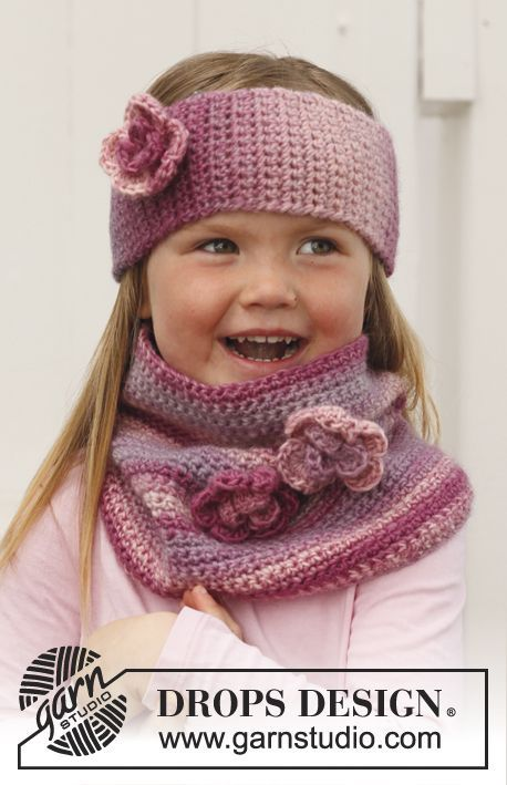 "DROPS Children 24-40 - Gehäkeltes DROPS Stirnband und Kragen aus ""Big Delight"". - Free pattern by DROPS Design"