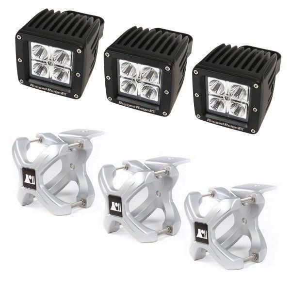 X-Clamp and Square LED Light Kit, Large, Silver, 3 Pieces