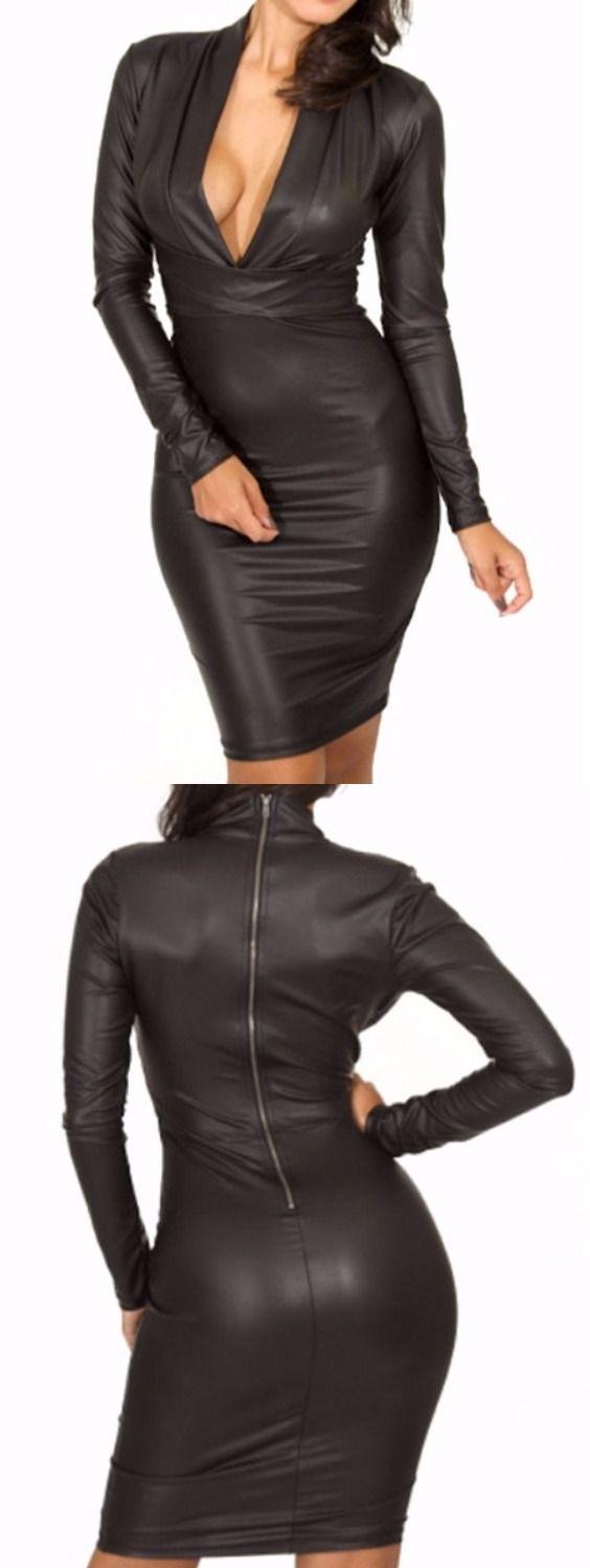 Plunging Neck Faux Leather Long Sleeve Bandage Dress