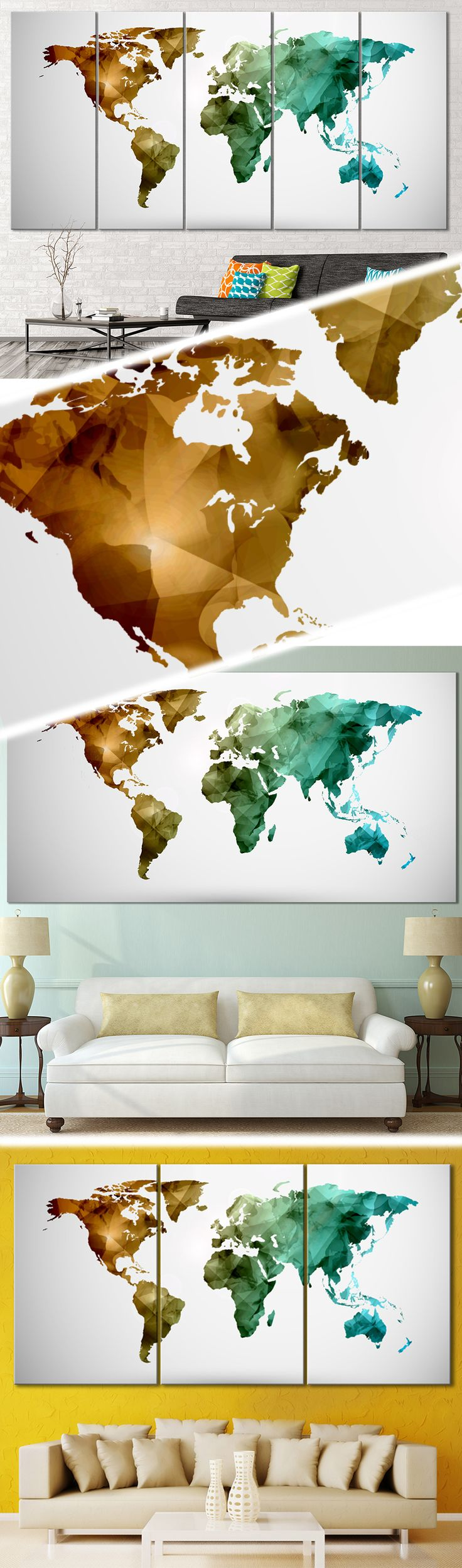 Low Poly World Map 111 Canvas Print