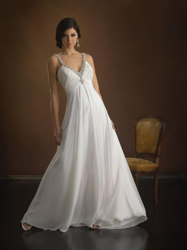 low cost wedding dresses in atlantga%0A Aline Vneck Beaded Court Train Chiffon Wedding Dress