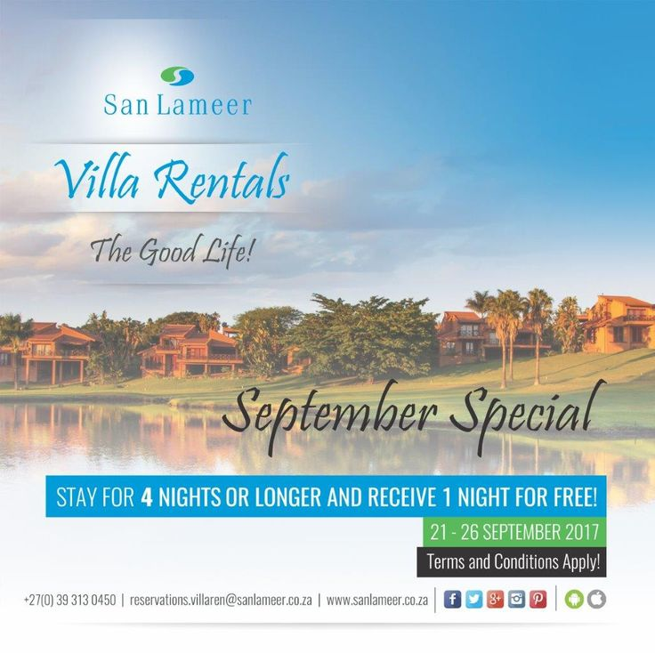 September is the month of Specials here at San Lameer Villa Rentals. Stay for 4 nights or more between 21 & 26 September and receive 1 night for FREE!!! Bookings can be done by: T: 039 313 0450 E: reservations.villaren@sanlameer.co.za