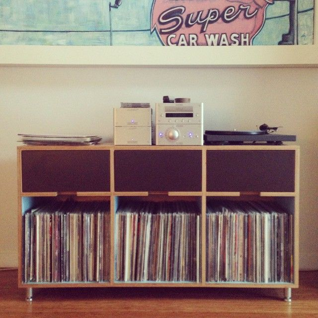 Maple europly record storage unit. Treat yourself and your vinyl. Made by Kerf Design in Seattle, Washington kerfdesign.com