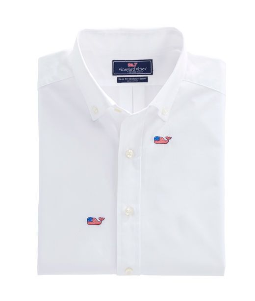 Flag Whale Embroidered Slim Whale Shirt