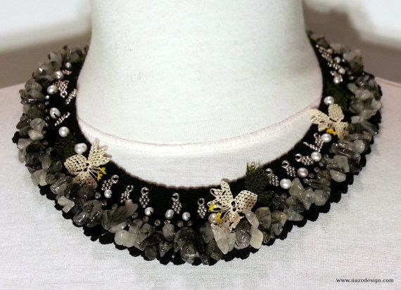 Needle Lace Necklace  Coral Stone Necklace  Natural by NazoDesign, $70.00