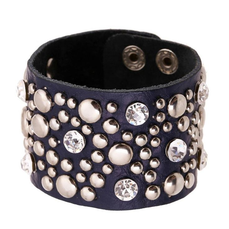 Punk Blue Studded Genuine Leather Cuff Bracelet