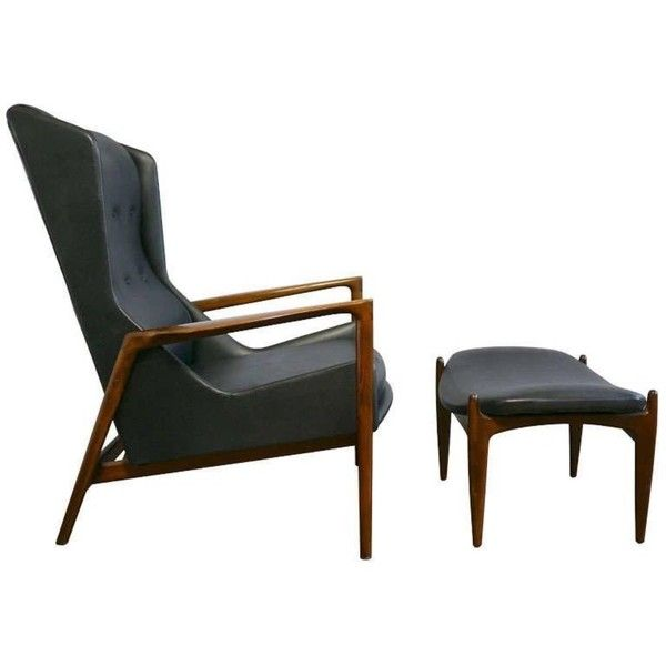 Preowned Ib Kofod Larsen Wingback Chair And Ottoman ($5,500) ❤ liked on Polyvore featuring home, furniture, brown, lounge chairs, black furniture, secondhand furniture, second hand furniture, ebony furniture and wingback furniture