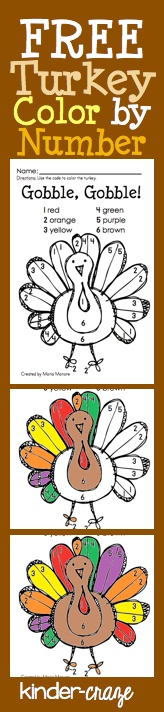 FREE Color by Number Turkey page