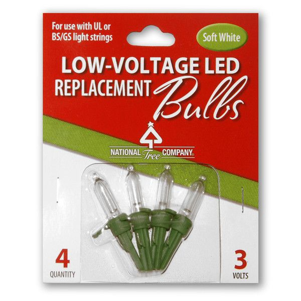 National Tree 4 Low Voltage LED Replacement Bulbs, Warm White, Blister Pack