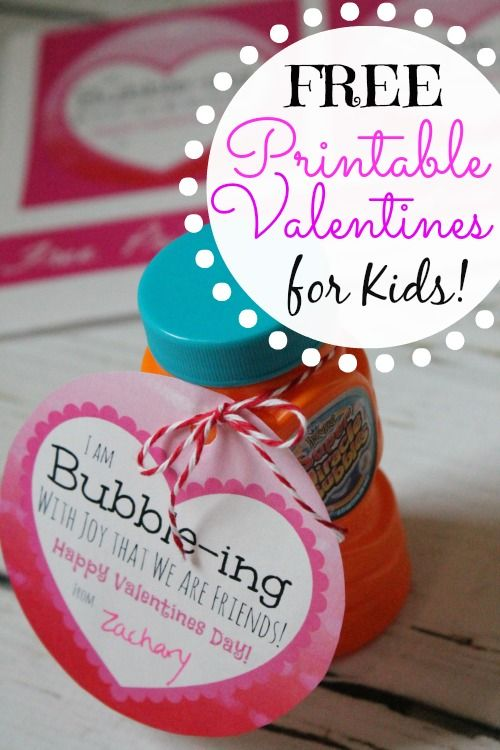 "Free Kids Printable Valentines Using Bubbles! ""I'm Bubble-ing with Joy that we are friends"" - Great Non Sweet Valentines Idea."
