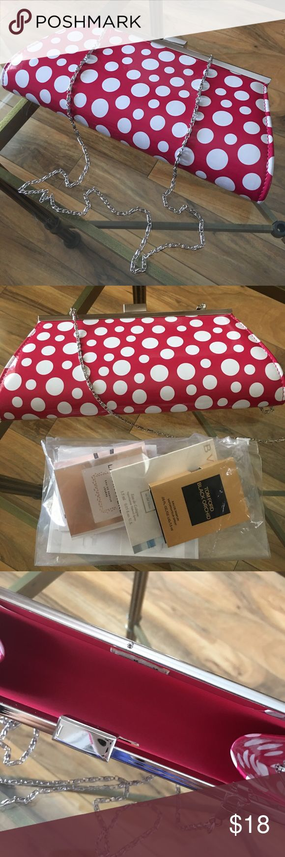 Neiman Marcus Pink Polka Dots Clutch w Samples Neiman Marcus Pink Polka Dots Clutch w Samples Neiman Marcus Bags Clutches & Wristlets