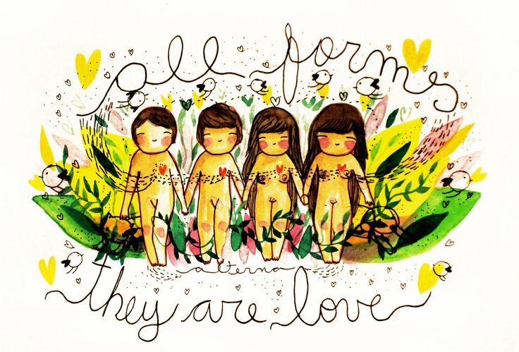 https://flic.kr/p/DvaQgv | todas las formas son amor!!! todas!  un regalito de día de los enamorados, no creo en esas cosas, yo creo en el amor a diario.  #alterna #diadelosenamorados #sanvalentin #14febrero #amor #love #liebe #loveday #saintvalentin #illustration #drawings #ilustr