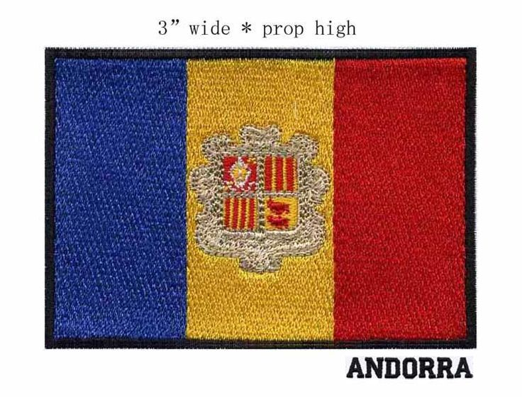 "[Visit to Buy] 3"" wide Andorra embroidery flag patch  three stripes iron on backing on clothes #Advertisement"