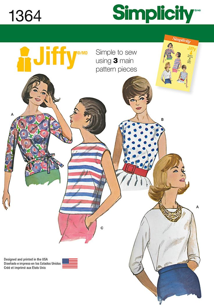 Simplicity 1364- Misses' Vintage Jiffy® Blouses and Tie Belt
