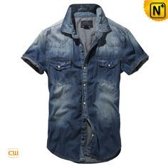 Blue Button up Short Sleeve Denim Shirt for Men CW114328 Cool fitted summer menswear blue button up short sleeve denim shirt for men crafted from 100% denim cotton fabric, featuring a faded effect and chest pockets with flap!