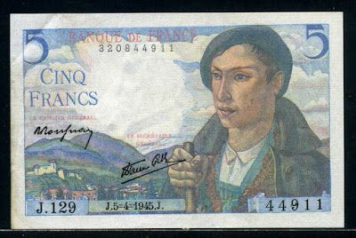 France money currency 5 French Francs bank note