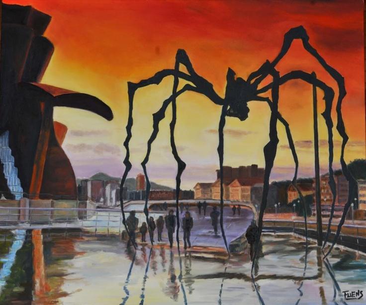 """"""" Bilbao y su Araña"""" por Fuensanta Ruíz Uríen, oil on canvas"""