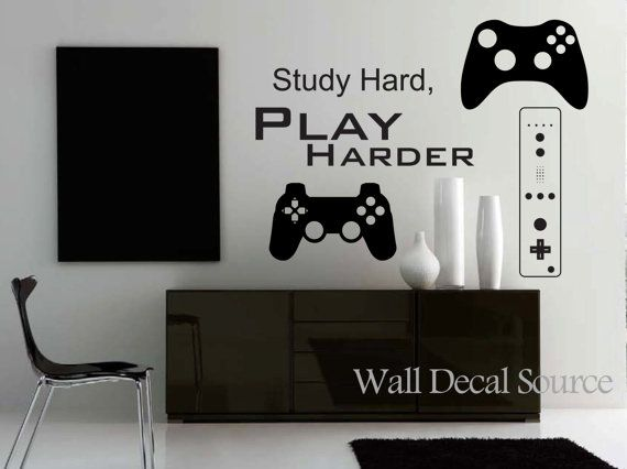 Game Controllers Wall Decal - Gamer Wall Decal on Etsy, $70.00  this can go in his man cave!!!