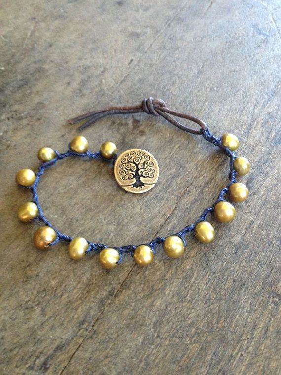 Simple crochet and beaded bracelet.