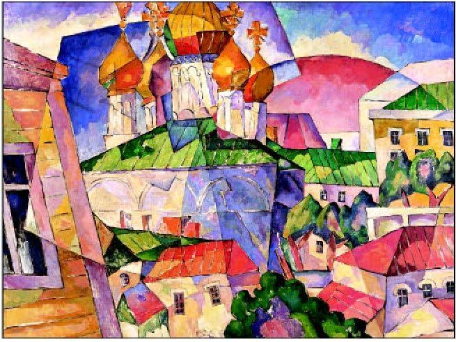 Аристарх Лентулов-его живопись это праздник, красочный фейерверк, щедрое излияние любви к жизни. | Волшебная сила искусства. Пейзаж с церковью и красными крышами.