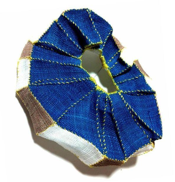"Mina Kang (Korea) brooch ""Mixture 6"" -  ramie fabric, thread, stainless steel"
