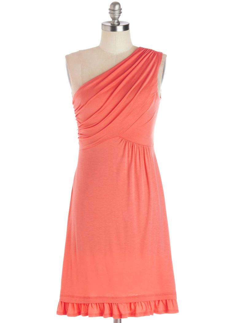 Midnight Sun Dress in Coral. When you vacation to Scandinavia, you know exactly what to wear to celebrate the late night sunshine! #coral #modcloth