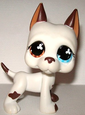 Littlest Pet Shop LPS Great Dane #577 Dog Puppy Mulit-Colored Eyes. Aww Zack looks great!