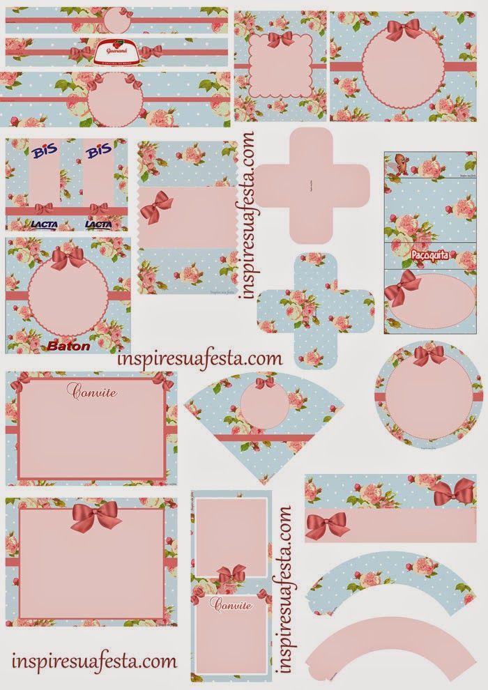 Kit Shabby Chic de Rosas para Imprimir Gratis.