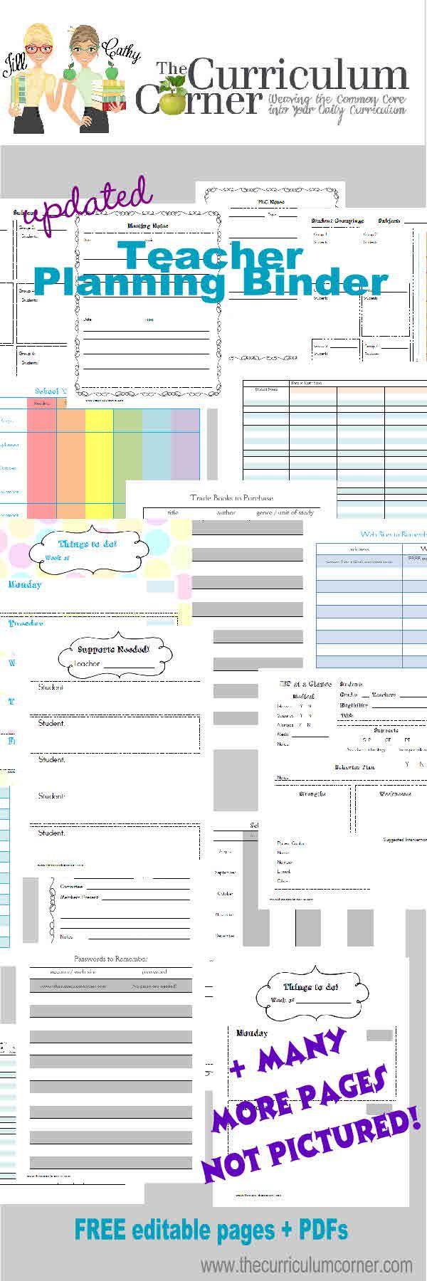 Updated Teacher Planning Binder Free from The Curriculum Corner
